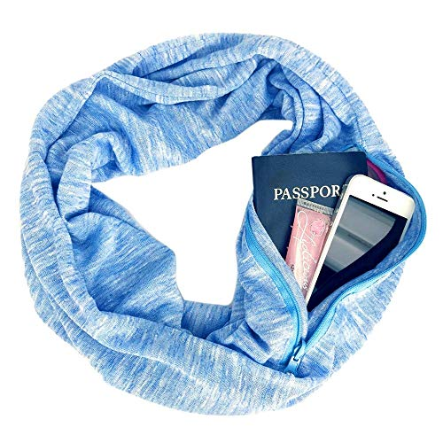 inter Convertible Infinity Scarf Pocket Loop Zipper Pocket Scarves (Blue) ()