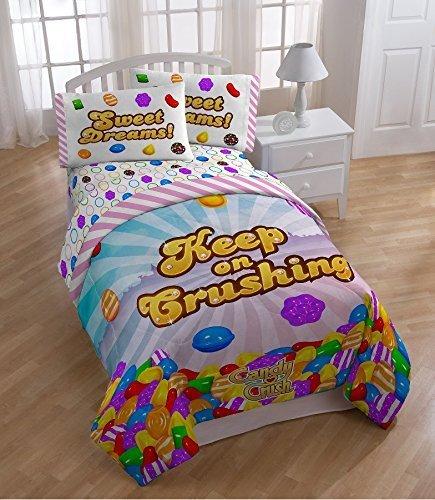 Candy Crush Keep Crushing Sheet Set, Twin (Candy Bedding)