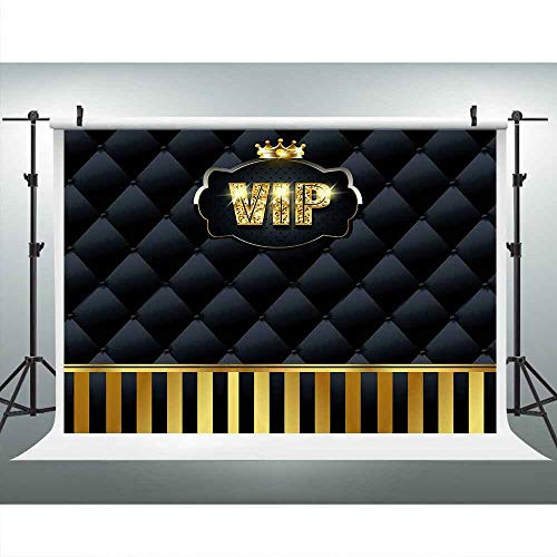 LUCKSTY Gold VIP Hollywood Backdrops for Photography 9x6FT Black Tufted Gold Stripes Backgrounds Events Step and Repeat Banner Props LUP575]()