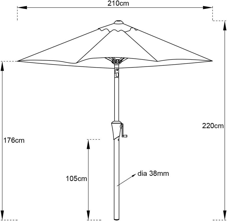 C-Hopetree Sombrilla de jard/ín para exteriores con manivela e inclinaci/ón 2,1 m