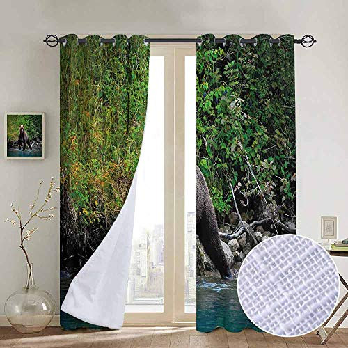 Cabin Decor 100% blackout lining curtain Grizzly Brown Bear in Lake Alaska Untouched Forest Jungle Wildlife Image Full shading treatment kitchen insulation curtain W84 x L72 Inch Green Brown Blue