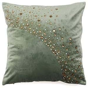 Diveenas Cushion Velvet Sqr 45x45cm Green Gold Diamond Glitter