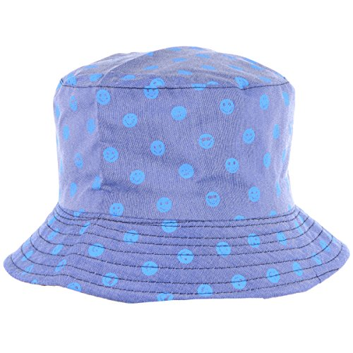 (BYOS Fashion Packable Reversible Black Printed Fisherman Bucket Sun Hat, Many Patterns (Emoji Blue))