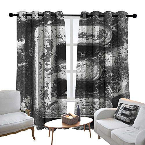 Window Curtain Fabric Letter E,Aluminum Colored Decayed Uppercase E Alphabet Character Nostalgic Medieval Initials, Grey,Rod Pocket Curtain Panels for Bedroom & Living Room 54