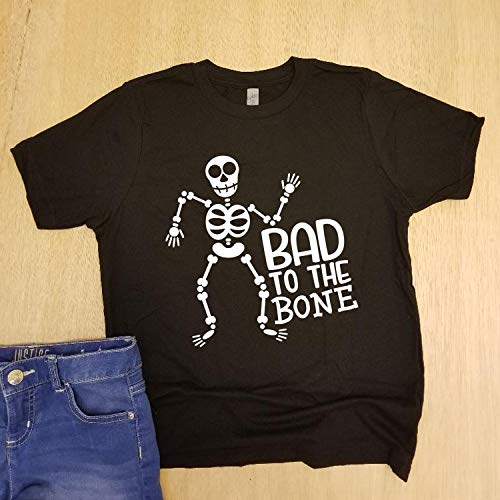 Bad To The Bone/Kids Halloween Shirt/Boys Girls Shirt/Graphic Tee/Shirt with Saying/Toddler/Halloween Shirt/Sheleton T-Shirt]()