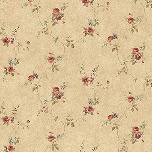 Manhattan Comfort NWPR33807 Tacoma Vinyl Rose Floral Trail Wallpaper, Brown