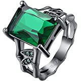 AWLY Womens 18k Black Gold Square Cut Large Stone Emerald Green Crystal Bamboo Bone Design Wedding Ring