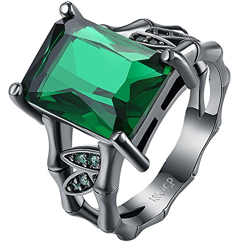 AWLY Womens 18k Black Gold Square Cut Large Stone Emerald Green Crystal Bamboo Bone Design Wedding Ring Size 8