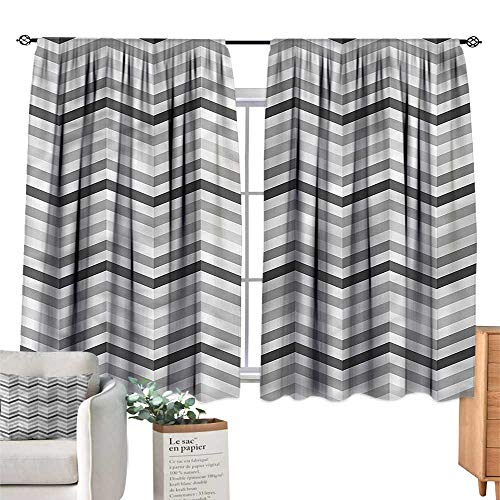 Mannwarehouse Curtain Blackout Geometric Zigzag Folding Effect W55 xL45 Suitable for ()