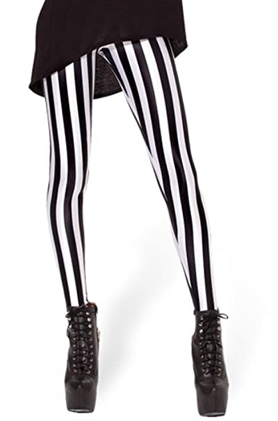 c8a57e15adf Image Unavailable. Image not available for. Color  Woman Galaxy Leggings  Black White Vertical Stripe Print Plus Size