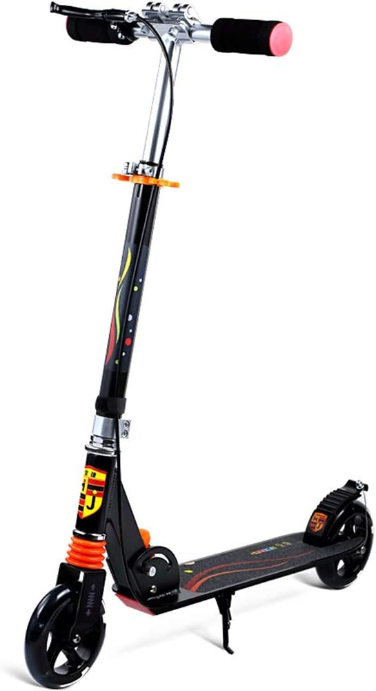 LJHBC キックスクーター 2つの耐摩耗性フラッシュホイール ライトフォールディングキックスクーター 市内旅行 ハンドブレーキ付き ユニセックス 大人/若者 高さ調節可能 ベアリング100kg 黒