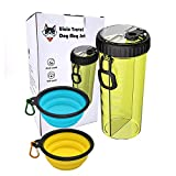 Uiuix Dog Water Bottle with Bowl, 2-in-1 Travel Portable Dog Food Container and Water Bottle for Walking with 2 Collapsible Dog Bowls (Yellow)