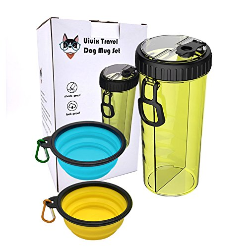 Uiuix Dog Water Bottle with Bowl, 2-in-1 Travel Portable Dog Food Container and Water Bottle for Walking with 2 Collapsible Dog Bowls (Yellow) by Uiuix