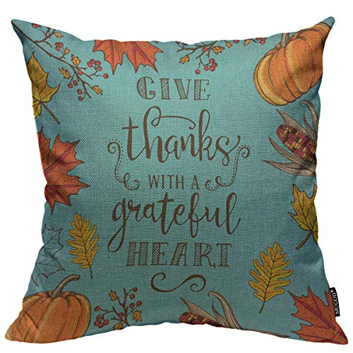 Mugod Thanksgiving Decoration Throw Pillow Cushion Covers Autumn Maple and Oak Leaves Branches and Berries Corn Lettering Decorator Funny Pillows for Sofa Home Decor Couch Pillow Case 18 X 18 Inch