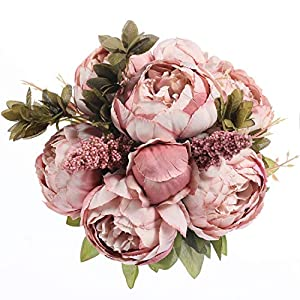 Luyue Vintage Artificial Peony Silk Flowers Bouquet Home Wedding Decoration (Spring Cameo Brown) 82