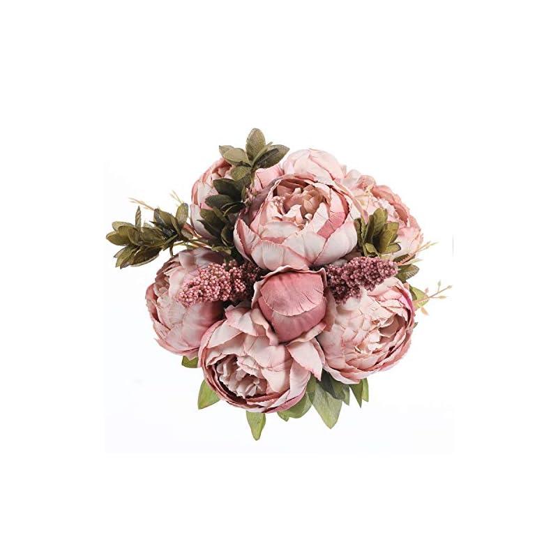 silk flower arrangements luyue vintage artificial peony silk flowers bouquet home wedding decoration (spring cameo brown)
