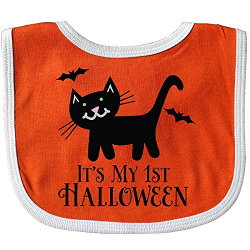 Inktastic - 1st Halloween Black Cat Bats Holiday Baby Bib - Cat Black Bib