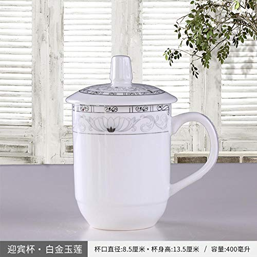 Chinese Ceramic Mug With Lid Home Office Cup Of Tea 400Ml - Special Offer Height 14Cm - Single Platinum Jade Lotus