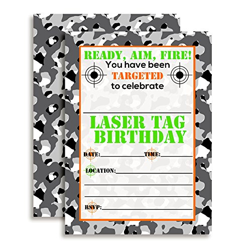 Camouflage Laser Tag Birthday Party Invitations, 20 5