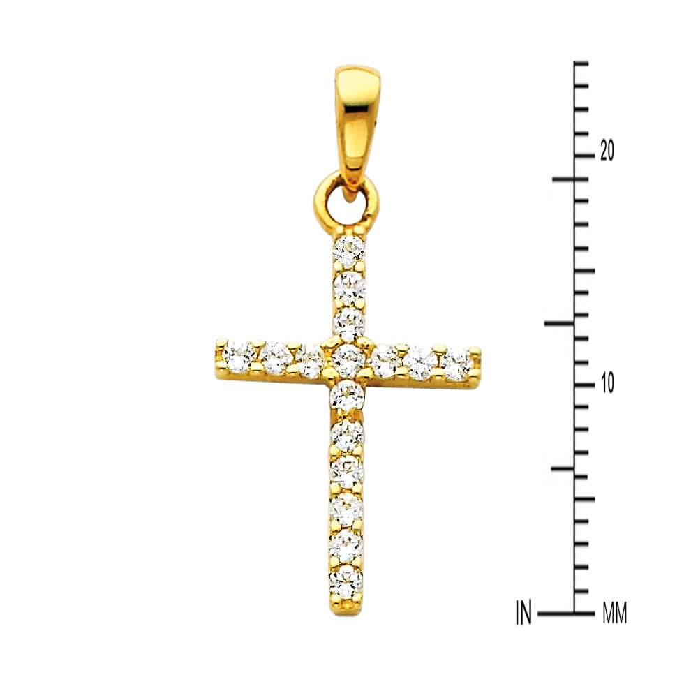 The World Jewelry Center 14k Yelow Gold Religious Cross CZ Pendant with 1mm Snail Link Chain Necklace