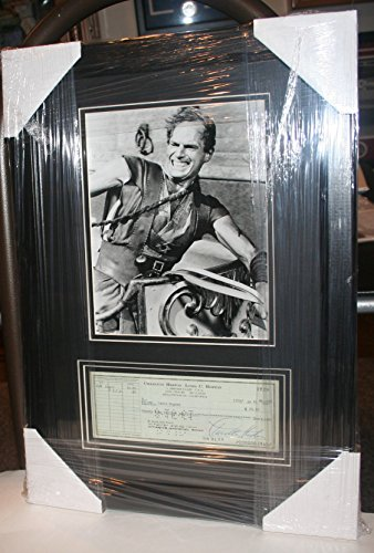 CHARLTON HESTON FRAMED PERSONAL CHECK WITH BEN HUR 8X10 PHOTO