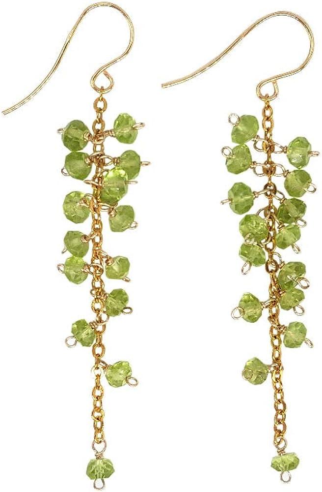 Pendiente RQZQ Piedra natural Peridotos verdes Cuentas facetadas Forma de uva Pendiente largo de plata 925