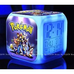 POKEMON PIKACHU Cartoon Games Action Figure 7 Colors Change Digital Alarm LED Clock Cartoon Night Colorful Toys for Kids (Style 6)