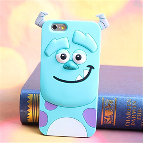 Topit Cute Cartoon 3d Blue Monster Jump Tigger Series Soft Silicone Back Cases Covers for Apple for Iphone 6 (4.7-inch) + 1 Pcs Wristband (Blue (Monster Blue Rubber Band)