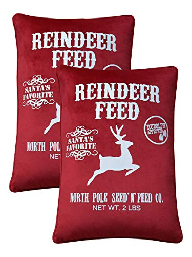 FANTASY HOME Pack of 2 Merry Christmas Pillow Covers, Super Soft Reindeer Feed Gift Decorative Throw Pillow Case, Welted Lumbar Cushion Cover 14