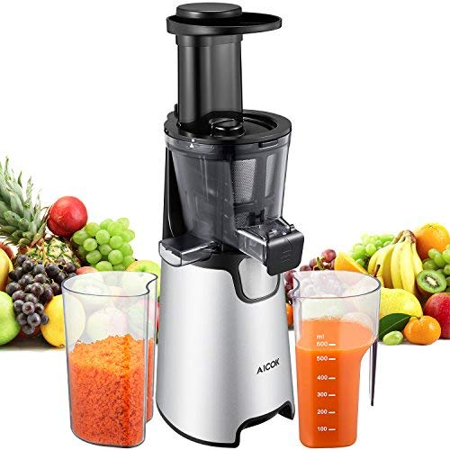Juicer Machines Slow Masticating Juicer Extractor Aicok Vertical Faster Juicer for Vegetable and Fruits, Easy to Clean, Quiet Motor, Cold Press juicer with Clean Brush and 3 Strainers for Different Foods