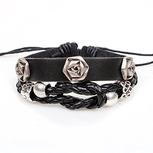 Personality Rose Rivets Braided Leather Bracelet with Alloy Accessories Adjustable Cuff Charm Bangle