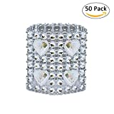 Sundlight Set of 50 Napkin Rings Plastic Mesh Rhinestone Silver Table Napkin Holder for Wedding Birthday Party Decor,4.92'' x 1.57''