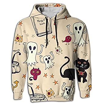 Halloween Ghost Men's Novelty Cool Long Sleeve Hoodie Printed For Jogger Tunic