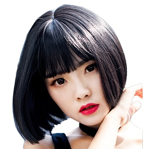 [Diforbeauty Women Short Straight Heat Resistant Synthetic Hair Swept Bangs Bob Wig for Daily Use Cosplay (1B# Off] (Black Bob Wig With Bangs)