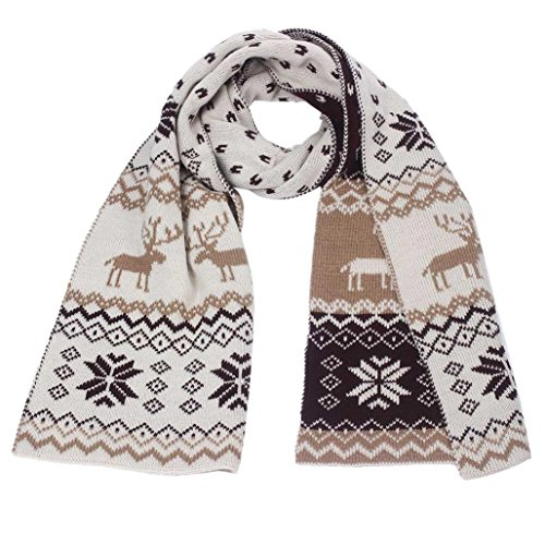 Christmas Scarves,Han Shi Women Fashion Winter Reindeer Snowflake Warm Thick Shawl Xmas Gift (Khaki, L)