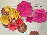 Set of 12 Giant Rose flower from size 18 inch to 6 inch colors of spring , Bright pink, yellow and orange