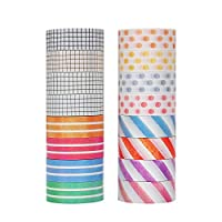 Molshine 16 Rolls (0.6in X 5.5yd/roll) Japanese Washi Masking Tape,Sticky Paper Tape for DIY, Decorative Craft, Gift Wrapping, Scrapbook-Basic Tone Collage Series