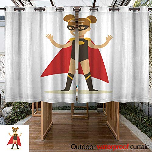 RenteriaDecor Outdoor Curtains for Patio Waterproof Girl Pretending to Have Super Powers Dressed in Black Superhero Costume with Red Cape and Mask Smiling Character W108 x L72 -