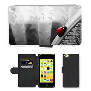 GoGoMobile PU LEATHER case coque housse smartphone Flip bag Cover protection // M00123938 Mariquita blanca Insecto Rojo Negro // Apple iPhone 5C