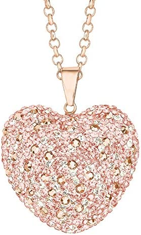 Noelani Damen Kette 80 cm mit Herz Anhänger rosévergoldet veredelt mit Kristallen von Swarovski
