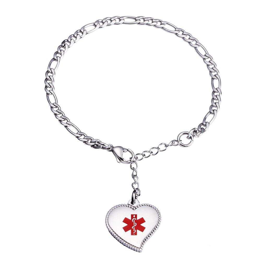 LinnaLove Pre-Engraving TYPE 1 DIABETES Silver Fashion Mini Figaro chain with Heart charm medical id bracelet for women