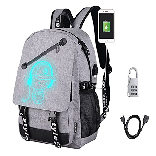 DOLIROX Anime Luminous Backpack Cool Fashion Boys Girls Outdoor Backpack Daypack Unisex Shoulder School Bag Laptop Bag (Grey A)