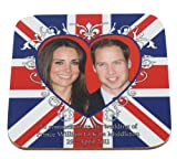 Prince William & Kate Middleton Wedding Commemorative Coaster - Heart Motif on Union Jack.