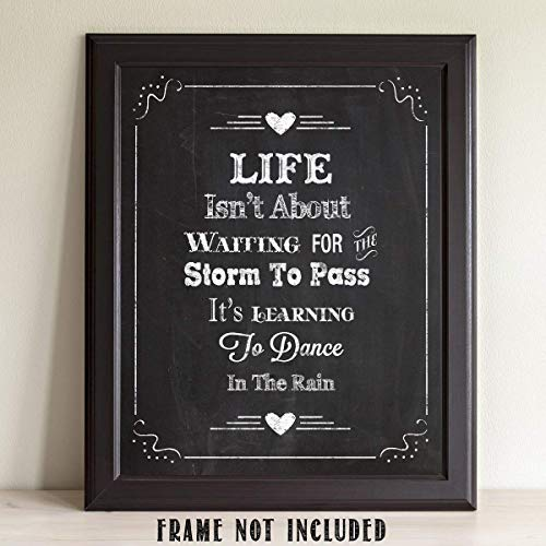 Life Isn't About.Chalkboard Look 11 x 14 Wall Art Sign Plaque - Makes a Great Inspirational Gift Under $10