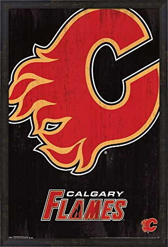 Calgary Flames - Logo 13 Framed Art Print Wall Picture, Espresso Brown Frame, 24 x 36 inches Calgary Flames Team Logo Poster