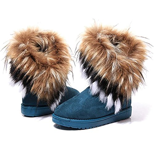 KINDOYO Women Winter Warm High Long Snow Ankle Boots Fur Tassel Shoes Ladies Thick Warm Snow Boots Green CLJqDz3oq