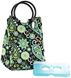 Fit & Fresh Retro Insulated Lunch Bag for Women with Ice Pack, Classic Lunch Tote, Black & White Damask