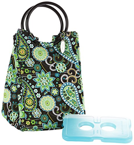 Fit & Fresh Retro Insulated Lunch Bag for Women with Ice Pack, Classic Lunch Tote for Work & School, Green Paisley