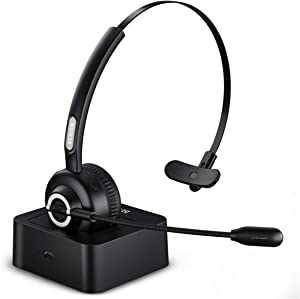 Besign BHF02 Bluetooth 5.0 Handsfree Headset, Wireless On Ear Headphone, Noise Cancellation Microphone, for Truck Driver Office Call Center Smartphone PC Skype