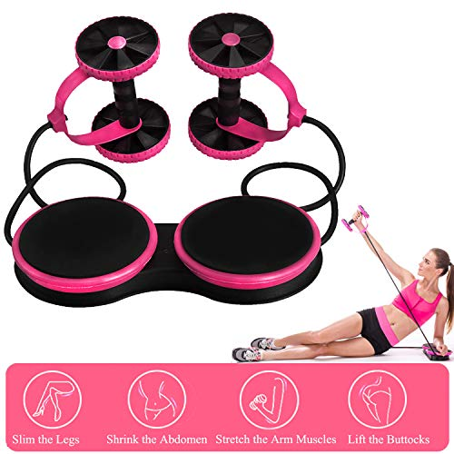 Darhoo Ab Roller Wheel - Ab Wheel Exercise Fitness Equipment - New Upgrade 5-in-1 Multi-Functional Core Ab Workout Abdominal Wheel Machine - Ab Roller Home Gym Equipment for Both Men & Women - Pink